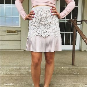 Ivory Lace Pleated Skirt